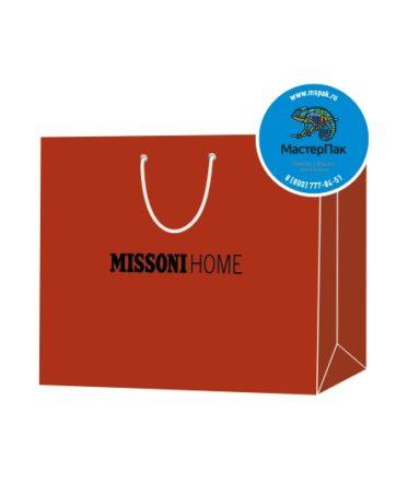 Пакет подарочный, бумажный, 55*37, 200 гр.,с люверсами, ручка шнур, с логотипом Missoni Home, Москва