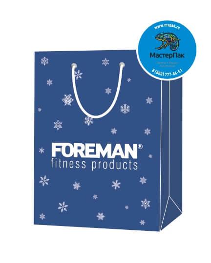 Пакет подарочный, бумажный, 30*40, 200 гр.,с люверсами, ручка шнур, с логотипом FOREMAN, Санкт-Петербург