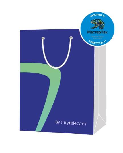 Пакет подарочный, бумажный, 30*40, 200 гр.,с люверсами, ручка шнур, с логотипом Citytelecom, Санкт-Петербург