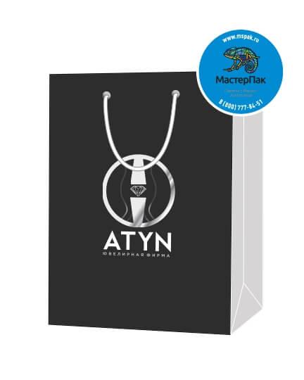 Пакет подарочный, бумажный, 15*21, 200 гр.,с люверсами, ручка шнур, с логотипом ATYN, Якутск
