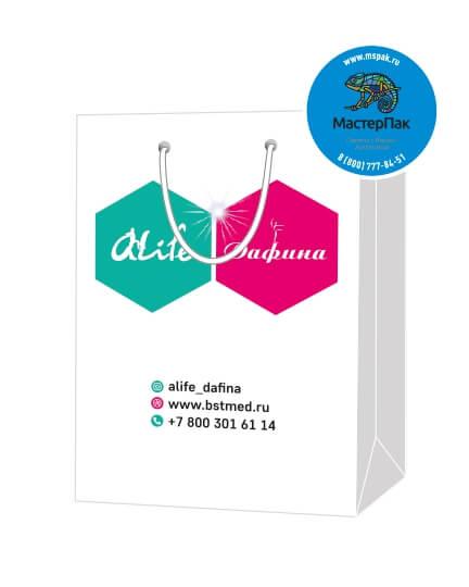 Пакет подарочный, бумажный, 25*36, 200 гр.,с люверсами, ручка шнур, с логотипом Alife Дафина, Москва